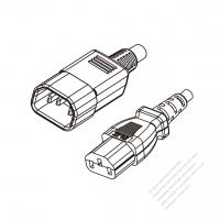 UK 3-Pin IEC 320 Sheet E Plug to IEC 320 C13 Power cord set (HF - Halogen free) 1.8M (1800mm) Black (H05Z1Z1-F 3X0.75MM )