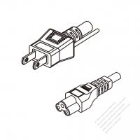 Japan 3-Pin Plug To IEC 320 C5 AC Power Cord Set Molding (PVC) 0.8M (800mm) Black (VCTF 3X0.75MM Round )