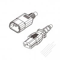 Japan 3-Pin IEC 320 Sheet E Plug to IEC 320 C13 Power Cord Set (PVC) 1.8M (1800mm) Black  (VCTF 3X0.75MM )
