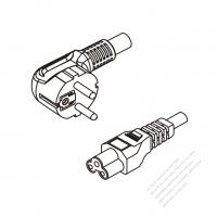 Europe 3-Pin Angle Plug To IEC 320 C5 AC Power Cord Set Molding (PVC) 0.8M (800mm) Black ( H05VV-F 3G 0.75mm2 )
