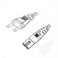 Switzerland 2-Pin Plug to IEC 320 C7 Power Cord Set (PVC) 1 M (1000mm) Black  (H03VVH2-F 2X0.75MM )