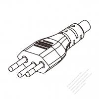 Brazil 3-Pin Plug/ Cable End Cut AC Power Cord - Molding PVC 1.8M (1800mm) Black  (H05VV-F  3G 0.75mm2  )