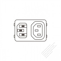 AC Socket IEC 60320-1 (C14) Appliance Inlet (Inlet to IEC 320 Sheet F Outlet) 10A 250V