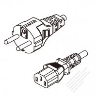 Korea 3-Pin Plug To IEC 320 C13 AC Power Cord Set Molding (PVC) 1.8M (1800mm) Black ( H05VV-F 3G 0.75mm2 )