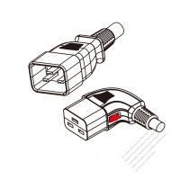 US/Canada 3-Pin IEC 320 Sheet I Plug to IEC 320 C19 Left Angle Power Cord Set (PVC) 1.8M (1800mm) Black  (SJT 16/3C/105C  )