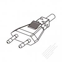 Europe 2-Pin Plug/ Cable End Cut AC Power Cord - Molding PVC 1.8M (1800mm) Black  (H05VVH2-F  2X 0.75mm2  )