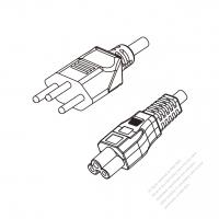 Switzerland 3-Pin Plug to IEC 320 C5 Power cord set (HF - Halogen free) 1.8M (1800mm) Black (H05Z1Z1-F 3X0.75MM )