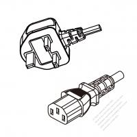 Malaysia 3-Pin Plug To IEC 320 C13 AC Power Cord Set Molding (PVC) 1.8M (1800mm) Black ( H05VV-F 3G 0.75mm2 )