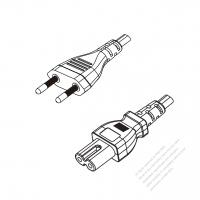 Brazil 2-Pin Plug to IEC 320 C7 Power cord set (HF - Halogen free) 1.8M (1800mm) Black (H03Z1Z1H2-F 2X0.75MM )