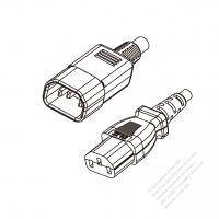 Japan 3-Pin IEC 320 Sheet E Plug to IEC 320 C13 Power cord set (HF - Halogen free) 1.8M (1800mm) Black (EM-ECTF 3X0.75MM )