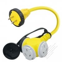 China 1 to 3 Locking Cord, 2-Pin to 3-Pin Receptacle x 3, 2*1.0MMSQ Yellow 0.3M (0.98 FT)
