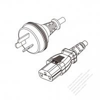 Australia 3-Pin Plug to IEC 320 C13 Power cord set (HF - Halogen free) 1.8M (1800mm) Black (H05Z1Z1-F 3X0.75MM )