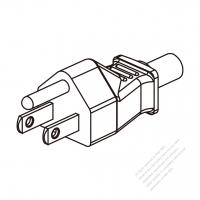 Taiwan 3-Pin Plug/Cable End Remove Outer Sheath 20mm Semi-Stripe Inner Sheath 13mm AC Power Cord - Molding PVC 1.8M (1800mm) Black  (VCTF   3X1.25MM  Round )