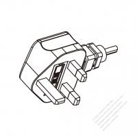 UK 3 Pin Plug/Cable End Remove Outer Sheath 20mm Semi-Stripe Inner Sheath 13mm AC Power Cord - Molding PVC 2.5M (2500mm) Black  (H05VV-F  3G 1.5mm2  )