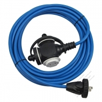 USA 2 Pin Locking Cord NEMA 1-15P Plug /1-15R Receptacle x 3(1.0MMSQ)Blue 25 or 50 FT (7.62 or 15.24M)