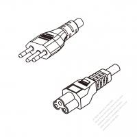 Brazil 3-Pin Plug To IEC 320 C5 AC Power Cord Set Molding (PVC) 0.8M (800mm) Black ( H05VV-F 3G 0.75mm2 )