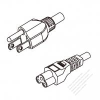 Taiwan 3-Pin Plug To IEC 320 C5 AC Power Cord Set Molding (PVC) 0.8M (800mm) Black (VCTF 3X0.75MM Round )