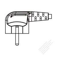 Korea 3 Pin Plug (NO G Hole) / Cable End Cut AC Power Cord - Molding PVC 1.8M (1800mm) Black  (H05VV-F  3G 0.75mm2  )