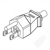 Taiwan/ Japan 3-Pin Straight AC Plug, 7~15A 125V (With Fuse.)