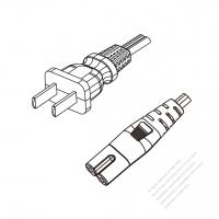 China 2-Pin Plug to IEC 320 C7 Power Cord Set (PVC) 1 M (1000mm) Black  60227 IEC 52 (RVV300/300) 2X0.75mm² )
