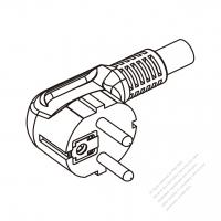 Russia 3 Pin Angle Plug/ Cable End Cut AC Power Cord - Molding PVC 1.8M (1800mm) Black  (H03VV-F  3G 0.75mm2 )
