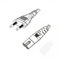 Brazil 2-Pin Plug to IEC 320 C7 Power Cord Set (PVC) 1 M (1000mm) Black  (H03VVH2-F 2X0.75MM )