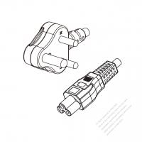 India 3-Pin Angle Type Plug to IEC 320 C5 Power cord set (HF - Halogen free) 1.8M (1800mm) Black (H05Z1Z1-F 3X0.75MM )