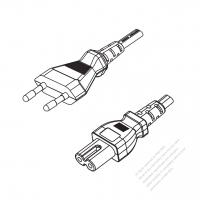 Europe 2-Pin Plug to IEC 320 C7 Power Cord Set (PVC) 1.8M (1800mm) Black  (H05VVH2-F 2X0.75MM )