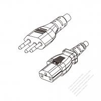 Brazil 3-Pin Plug to IEC 320 C13 Power Cord Set (PVC) 1.8M (1800mm) Black  (H05VV-F 3G 0.75MM2 )