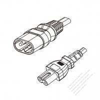 Europe 2-Pin IEC 320 Sheet C Plug to C7 Power Cord Set (PVC) 1.8M (1800mm) Black  (H05VVH2-F 2X0.75MM )