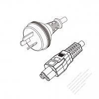 Australia 3-Pin Plug to IEC 320 C5 Power Cord Set (PVC) 1.8M (1800mm) Black  (H05VV-F 3G 0.75MM2 )