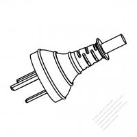 China 3-Pin Plug/ Cable End Cut AC Power Cord - Molding PVC 1.8M (1800mm) Black  (60227 IEC 53 RVV 300/500 3G 0.75mm2 )