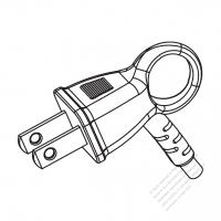 Taiwan/ Japan 2-Pin 2 wire Angle Type AC Plug, 7~15A 125V