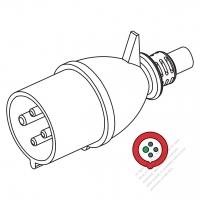 IEC 309 (3P+E ) IP 44 Splash proof AC Plug, 32A 380V to 440V (3H)