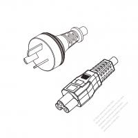 Argentina 3-Pin Plug to IEC 320 C5 Power cord set (HF - Halogen free) 1.8M (1800mm) Black (H03Z1Z1-F 3X0.75MM )
