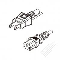 Japan 3-Pin Plug To IEC 320 C13 AC Power Cord Set Molding (PVC) 1 M (1000mm) Black (VCTF 3X0.75MM Round )