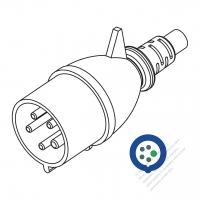 IEC 309  (3P+N+E ) IP 44 Splash proof AC Plug, 32A 230V (9H)
