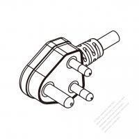 India 3 Pin Angle Plug/ Cable End Cut AC Power Cord - Molding PVC 1.8M (1800mm) Black  (YY 3G 0.75mm2 )