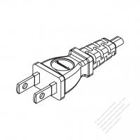 Taiwan/ Japan 2-Pin 2 wire Straight AC Plug, 7A~15A 125V