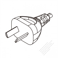 Argentina 2-Pin Plug/ Cable End Cut AC Power Cord - Molding PVC 1.8M (1800mm) Black  (H03VVH2-F  2X 0.75mm2  )