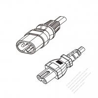 Europe 2-Pin IEC 320 Sheet C Plug to IEC 320 C7 Power cord set (HF - Halogen free) 1.8M (1800mm) Black ( H05Z1Z1H2-F 2X0.75MM  )