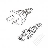 Argentina 2-Pin Plug to IEC 320 C7 Power Cord Set (PVC) 1.8M (1800mm) Black  (H05VVH2-F 2X0.75MM )