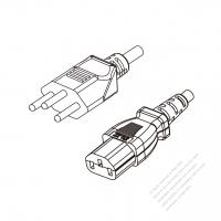 Switzerland 3-Pin Plug to IEC 320 C13 Power Cord Set (PVC) 1.8M (1800mm) Black  (H05VV-F 3G 0.75MM2 )