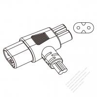 USA/Canada T Shape  IEC 320 C7 + Sheet C Plugs Connectors 2-Pin 10A 125/250V