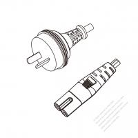 Australia 2-Pin Plug to IEC 320 C7 Power Cord Set (PVC) 1 M (1000mm) Black  (H03VVH2-F 2X0.75MM )