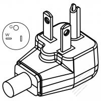 Taiwan/ Japan 3-Pin grounding AC Plug, 20A 125V