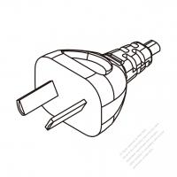 Argentina 2-Pin Plug/ Cable End Cut AC Power Cord - Molding PVC 1.8M (1800mm) Black  (H05VVH2-F  2X 0.75mm2  )