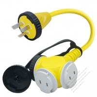 China 1 to 3 Locking Cord, 3-Pin to 2-Pin Receptacle x 3, 3*1.0MMSQ Yellow 0.3M (0.98 FT)