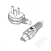 China 3-Pin Angle Type Plug to IEC 320 C5 Power Cord Set (PVC) 1 M (1000mm) Black  60227 IEC53(RVV) 3C*0.75, (round) )