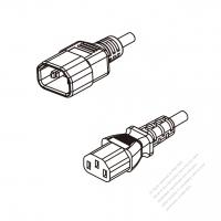 Australia 3-Pin IEC 320 Sheet E Plug To IEC 320 C13 AC Power Cord Set Molding (PVC) 1.8M (1800mm) Black ( H05VV-F 3G 0.75mm2 )